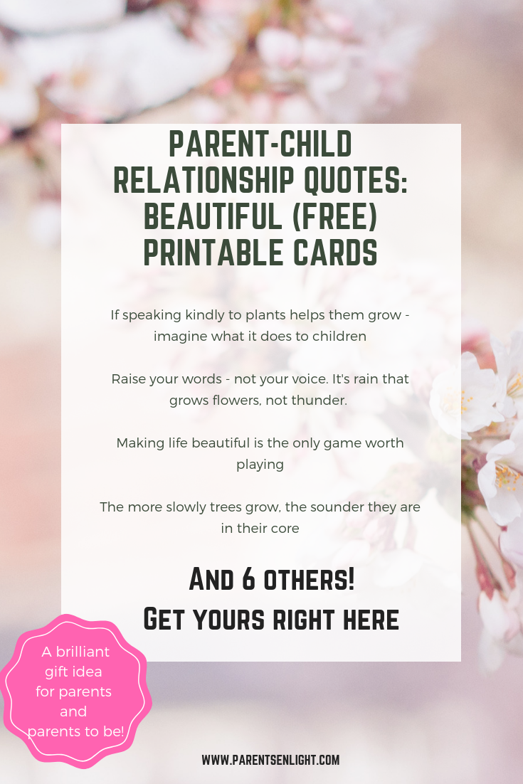 Just in time for the holidays - Parent-child relationship quotes beautiful (Free) printable cards. A brilliant gift idea for parents and parents to be!