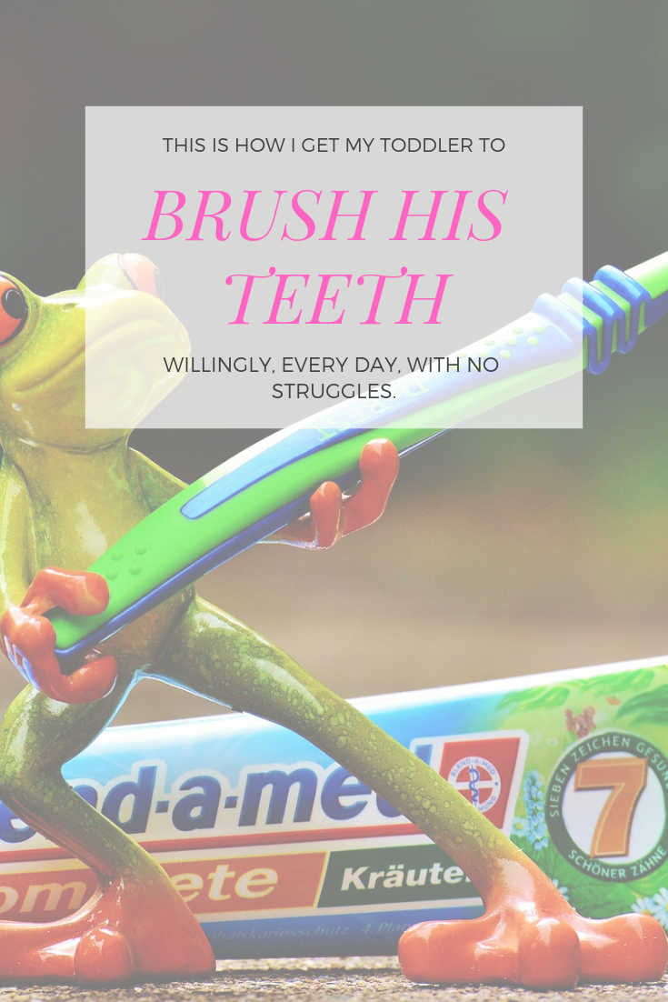 This is how I get my toddler to brush his teeth every single day - willingly and without a struggle. #attachmentparenting #peacefulparenting #positivediscipline