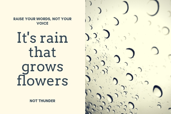 RAISE YOUR WORDS, NOT YOUR VOICE. ITS RAIN THAT GROWS FLOWERS, NOT THUNDER.