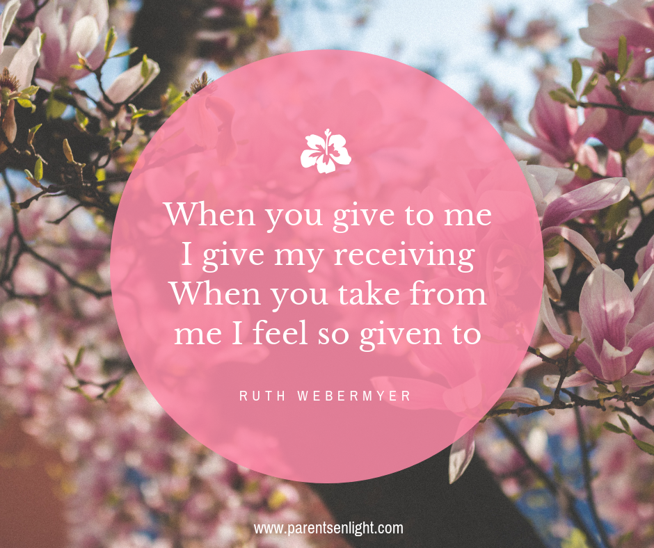 When you give to me I give my receivingWhen you take from me I feel so given to